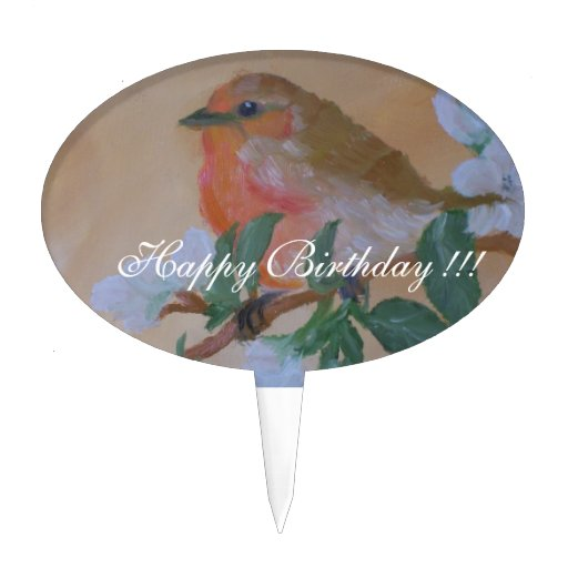 Happy Birthday Bird Painting Cake Topper