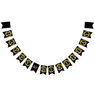 Happy Birthday - Black and Gold Bunting