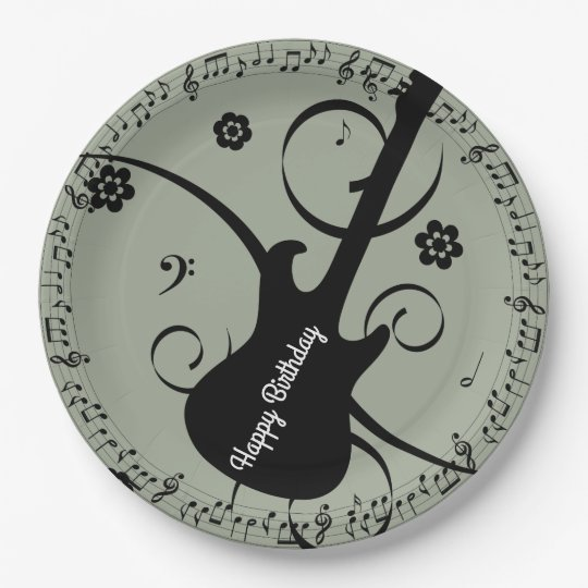 Happy Birthday Black Music Notes Guitar Flowers Paper