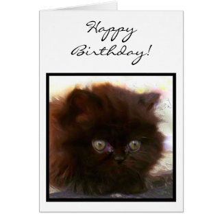 Happy Birthday Black Persian Kitten greeting card