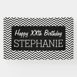 Happy Birthday - Black White Chevrons personalize Banner