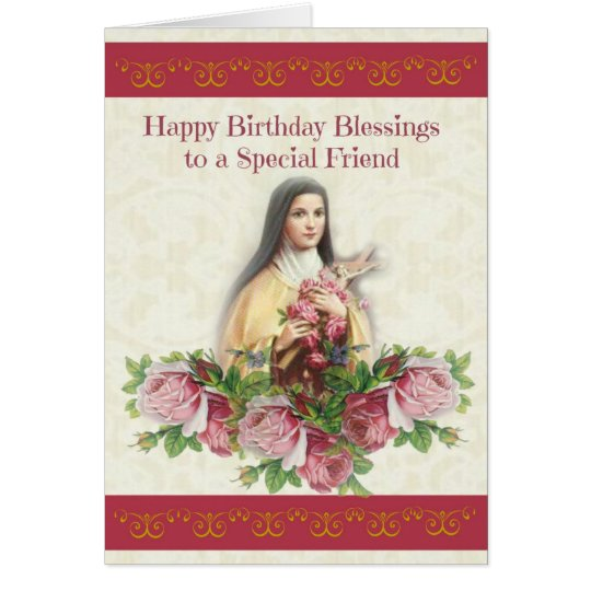 Happy Birthday Blessings St. Therese Card