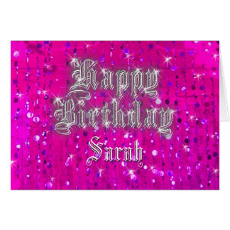 Happy Birthday Bling Pink Greeting Card