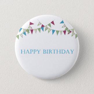 Happy Birthday - blue 6 Cm Round Badge