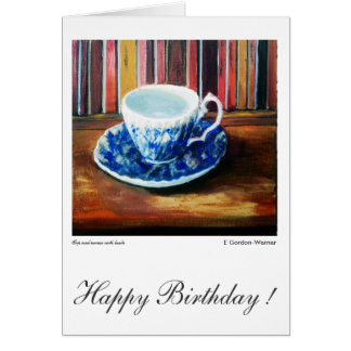 Happy Birthday, blue and white china with books Greeting Card