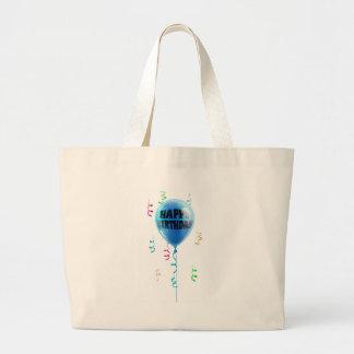 Happy Birthday blue balloon Tote Bags