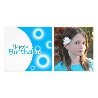 Happy Birthday blue balls Customized Photo Card