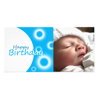 Happy Birthday blue balls Photo Card Template