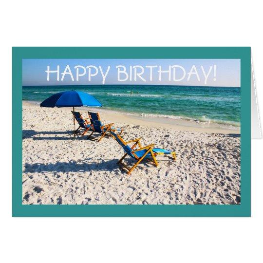Happy Birthday! - Blue beach chairs florida scene