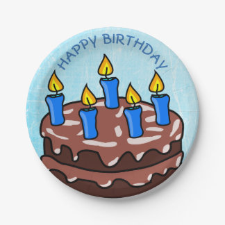 Happy Birthday Blue Cake Plates