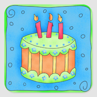 Happy Birthday Blue Cake Sticker Third