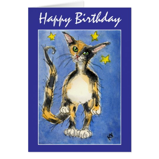 Happy Birthday Blue Cat greeting card