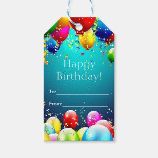 Happy Birthday - Blue Colored Balloons - Customize Gift Tags