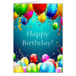 Happy Birthday - Blue Coloured Balloons - Greeting Card