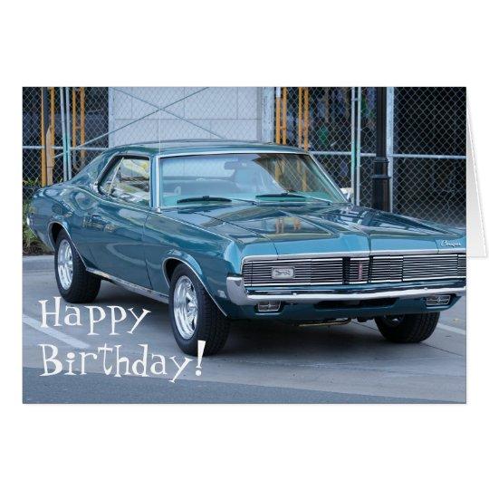 Happy Birthday Blue Cougar Automobile card