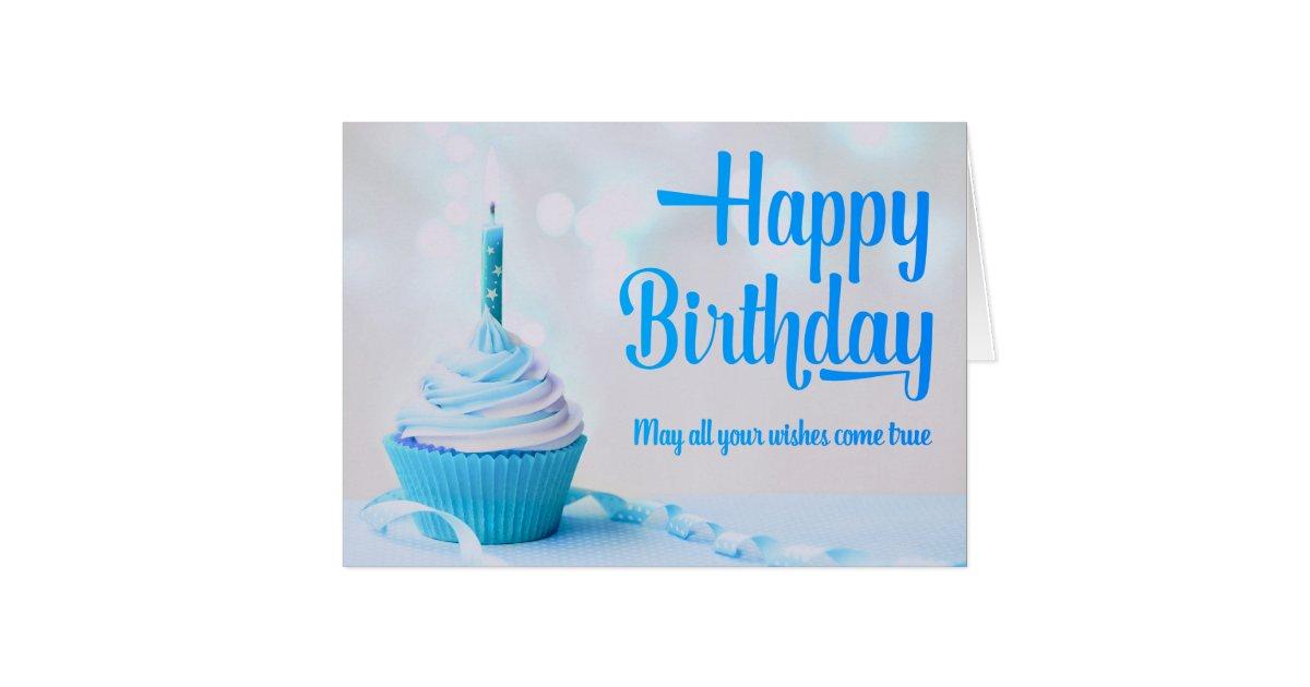 Happy Birthday Blue Cupcake Greeting Card Zazzle