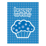 happy birthday blue cupcake postcard