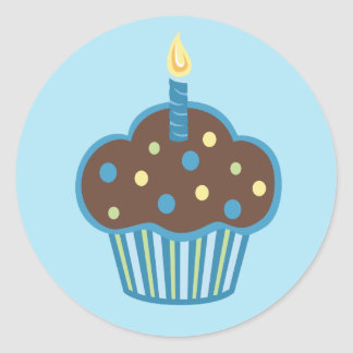 Happy Birthday Blue Cupcake Sticker