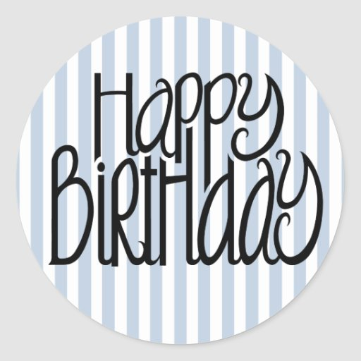 Happy Birthday Blue Stripes Sticker