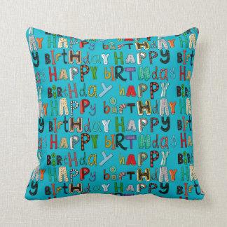 happy birthday blue throw pillow