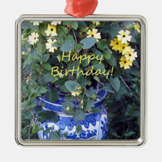 Happy Birthday Blue Yellow vine blue willow Christmas Ornament