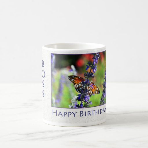 Happy Birthday Boss Floral Butterfly Coffee Mugs