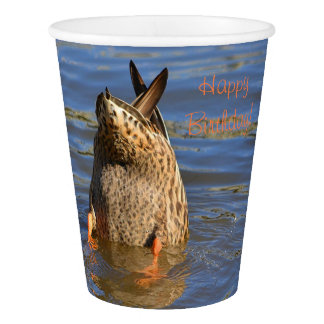 Happy Birthday Bottoms Up Duck Paper Cup