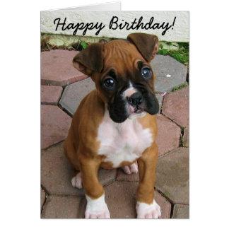 Happy Birthday Boxer puppy greeting card
