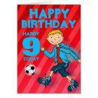 Happy Birthday boys football name & age card