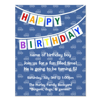 Happy Birthday (boy's invitation) 11 Cm X 14 Cm Invitation Card