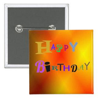 Happy Birthday Bright Burnt Orange Buttons