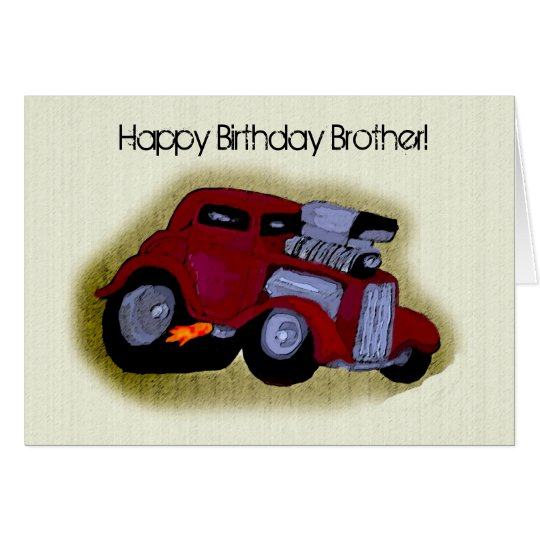 Happy Birthday Brother Car Greeting Card