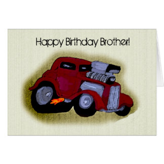 Happy Birthday Brother Car Greeting Greeting Card