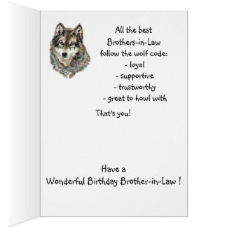 Happy Birthday Brother-in-Law Humour Wolf, Wolves Greeting Card
