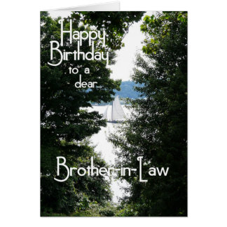 Happy Birthday Brother-in-Law/Sailing boat Greeting Card