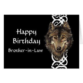 Happy Birthday Brother-in-Law Wild Grey Wolf Head Greeting Card