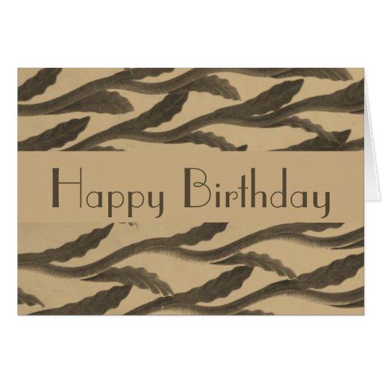 Happy Birthday brown biege branch pattern Card