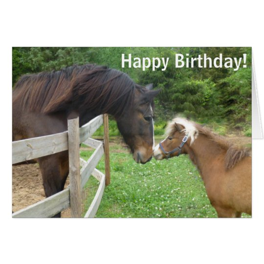 Happy Birthday Brown Miniature Draught Shire Card