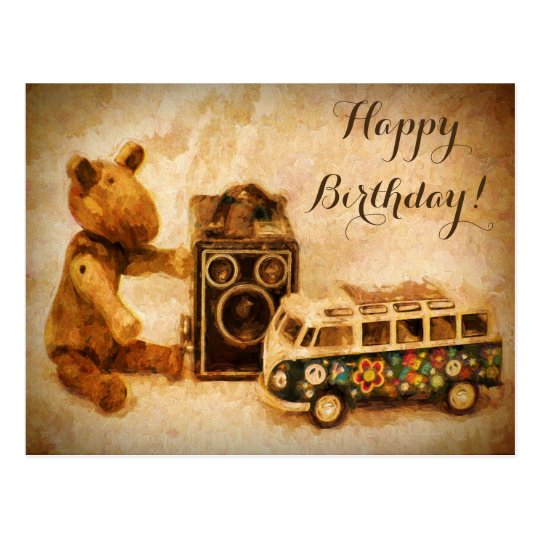 Happy Birthday brown wooden vintage toys Postcard