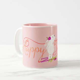 Happy Birthday Bunny in the Pink Two-Tone Coffee Mug
