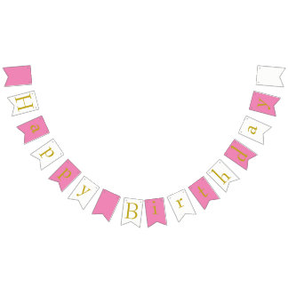 Happy Birthday Bunting Banner Pink White Gold