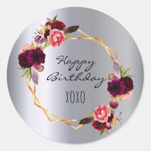 Happy birthday burgundy florals gold silver classic round sticker