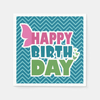 Happy birthday butterfly blue paper party napkins disposable napkin