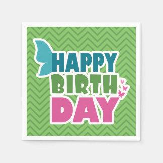 Happy birthday butterfly green zig zag napkins paper napkin