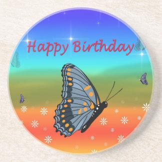 Happy Birthday Butterfly Sandstone Coaster