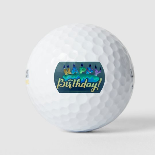 Excellent Happy Birthday Cake And Candles Golf Ball Zazzle Co Uk Personalised Birthday Cards Arneslily Jamesorg