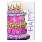 """Happy Birthday"" Cake & Balloons - Birthday Card"