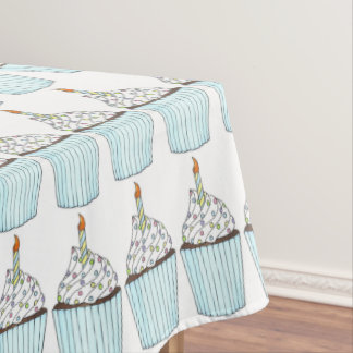 Happy Birthday Cake Cupcake w/ Candle Cakes Print Tablecloth