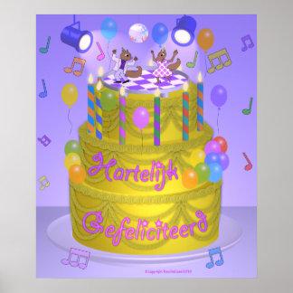 """""""Happy Birthday"""" cake (Dutch) Poster"""