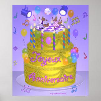"""""""Happy Birthday"""" cake (French) Poster"""